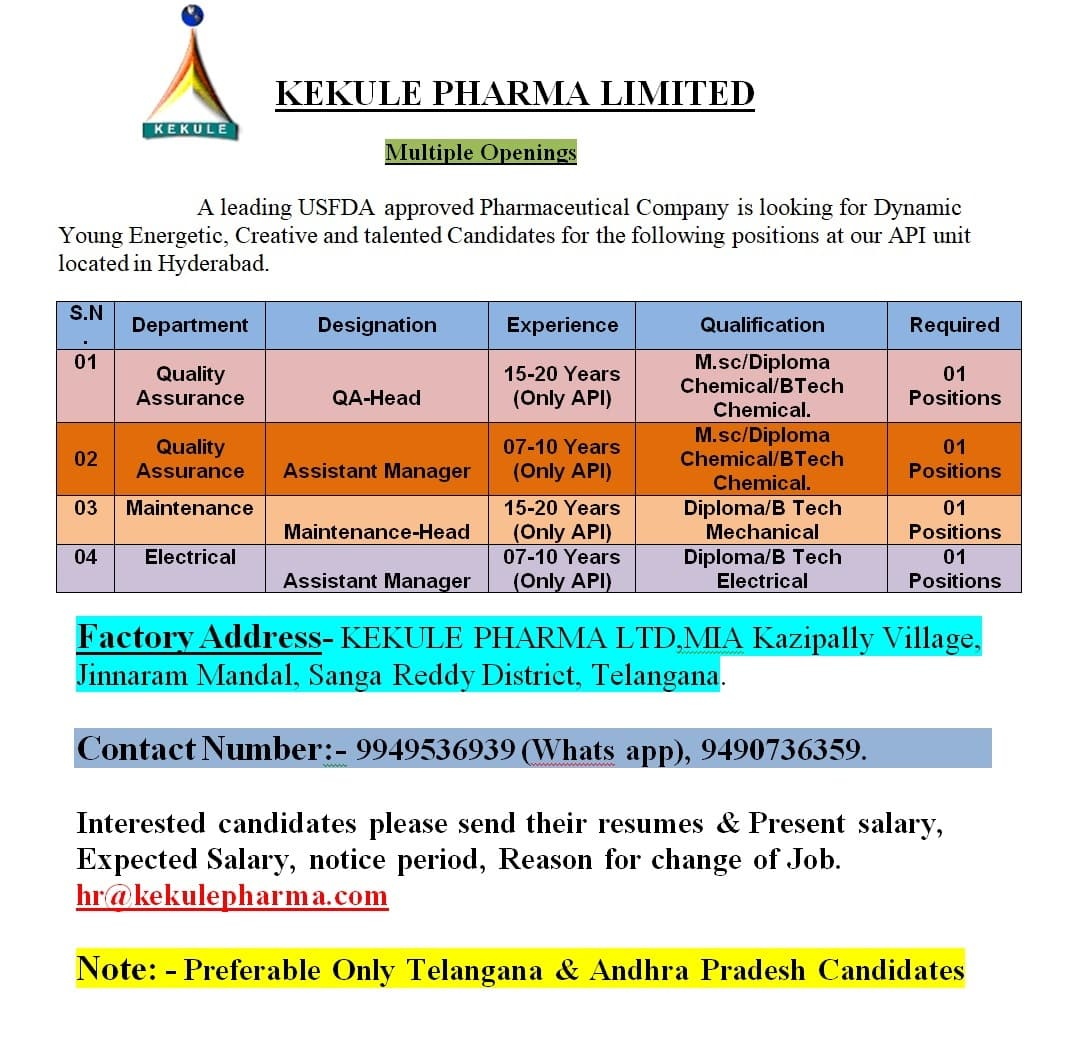 KEKULE PHARMA LIMITED – Urgent Openings for Quality Assurance, Maintenance, Electrical Departments    Apply Now