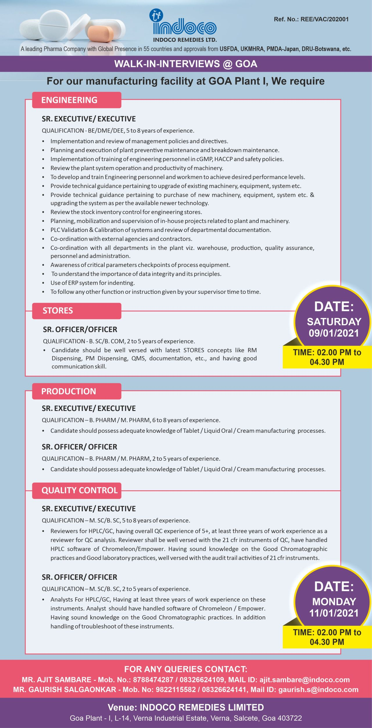 Indoco Remedies Limited – Walk-In Interviews for Production, Quality Control, Engineering, Store Department on 09th & 11th Jan' 2021
