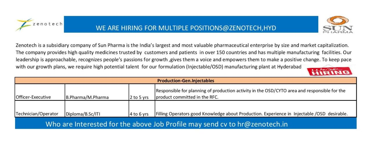 Zenotech ( A Sun Pharma Company ) – Urgent Opening for Production || Apply Now