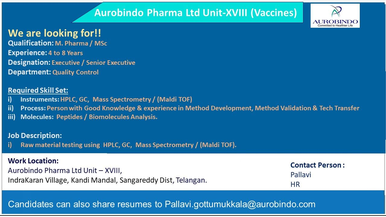 Aurobindo Pharma Limited -Urgent Hiring for Quality Control Department || Apply Now
