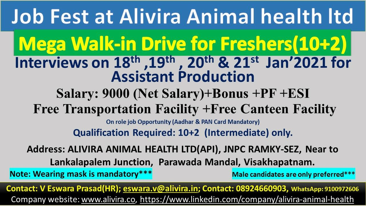 Alivira Animal Health Ltd - Mega Walk-In Drive for Fresher on 18th to 21st Jan' 2021