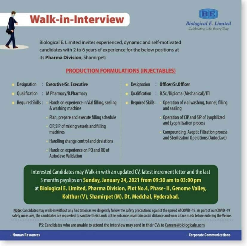 Biological E. Limited - Walk-In Interviews on 24th Jan' 2021