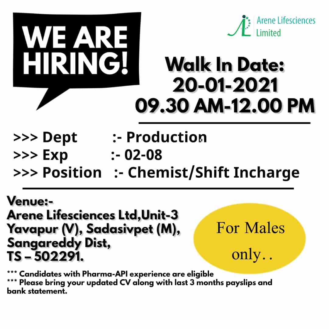 Arene Lifesciences Limited - Walk-In Interviews for Production on 20th Jan' 2021