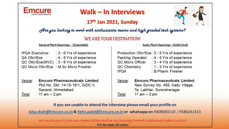 Emcure Pharmaceuticals Ltd - Walk-In Interviews for Production