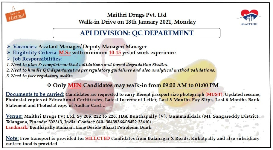 Maithri Drugs Pvt. Ltd – Walk-In Drive for Senior Positions in Quality Control Department on 18th Jan' 2021