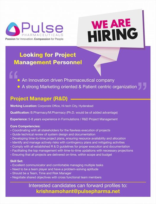 Pulse Pharmaceuticals – Openings for Project Manager (R&D) || Apply Now