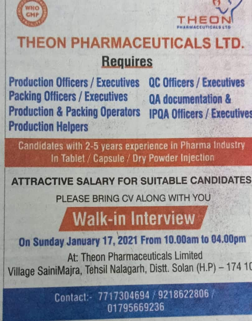 Theon Pharmaceuticals Ltd – Walk-In Interviews for Production / Packing / Quality Control / Quality Assurance on 17th Jan' 2021