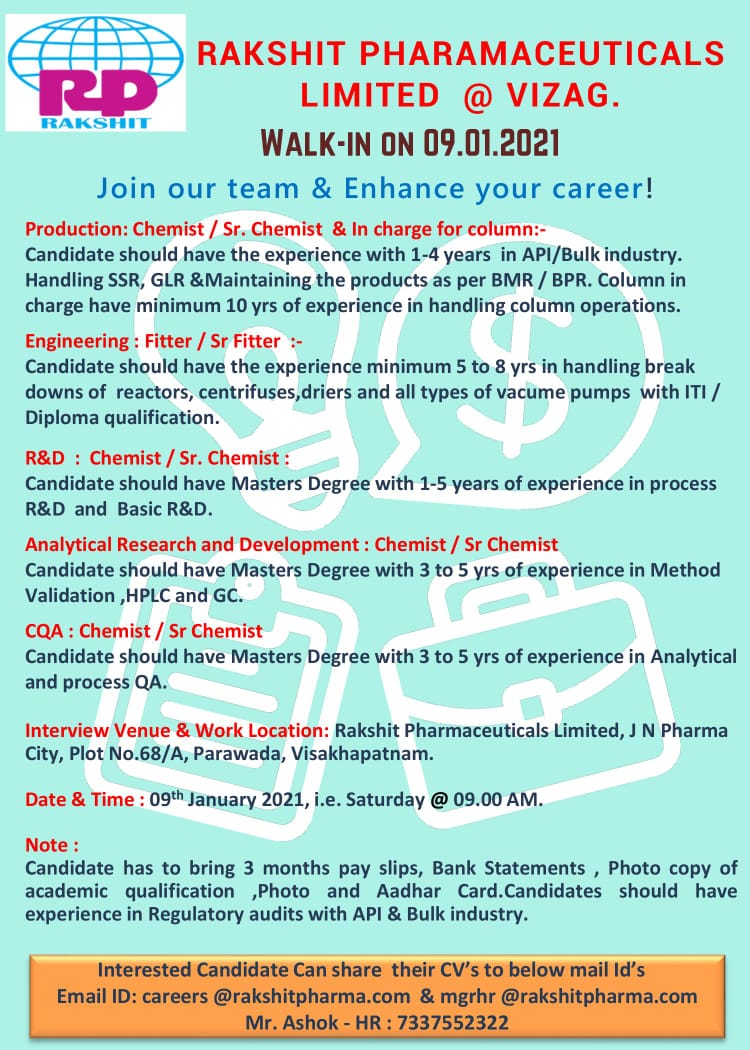 Rakshit Pharmaceuticals Limited – Walk-In Interviews for Production, Engineering, R&D, AR&D, CQA on 09th Jan' 2021