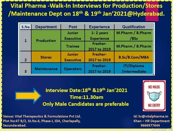 Vital Pharma Limited – Walk-In Interviews for Production, Store, Maintenance Department on 18th & 19th Jan' 2021