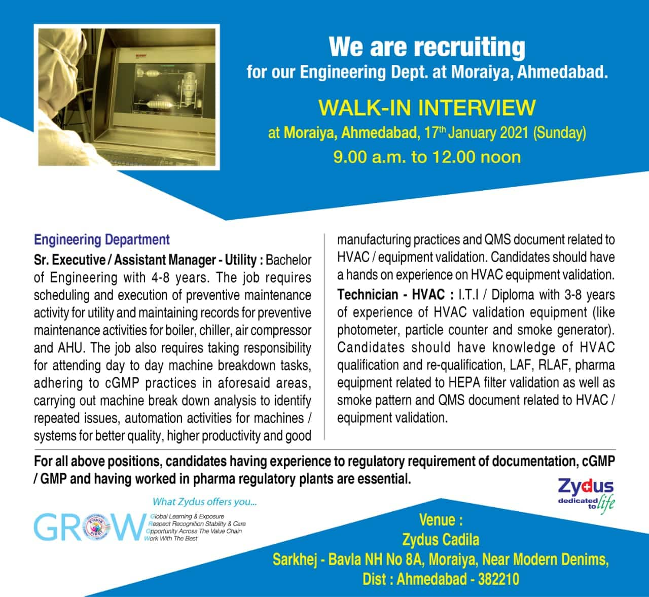 Zydus Cadila – Walk-In Interviews for Engineering Department on 17th Jan' 2021