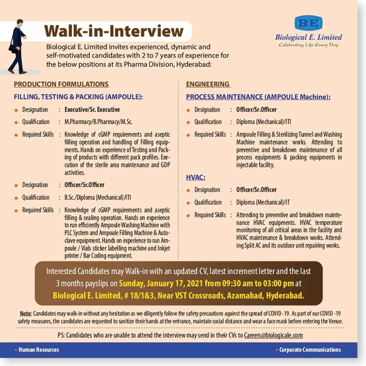 Biological E. Limited – Walk-In Interviews for Multiple Positions on 17th Jan' 2021