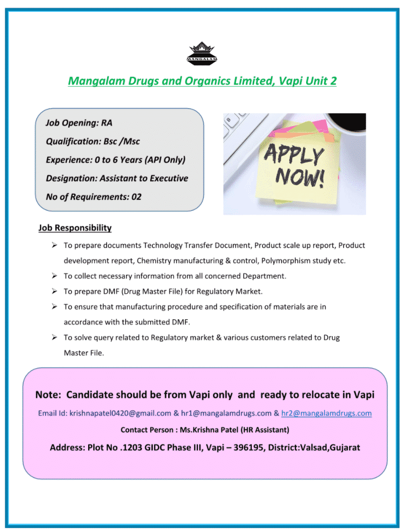 Mangalam Drugs and Organics Limited – Urgent Opening for Fresher & Experienced – Regulatory Affairs    Apply Now