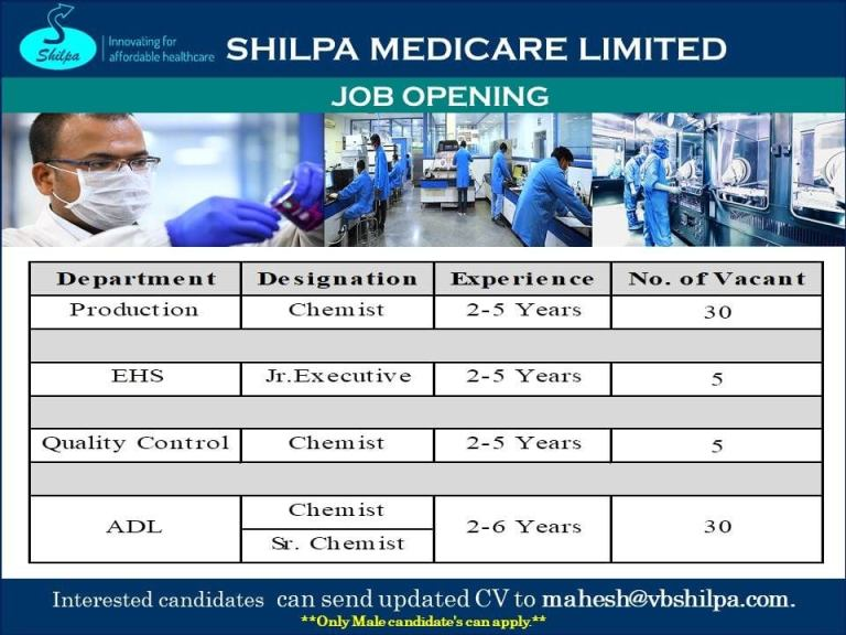 Shilpa Medicare Limited – Urgent Requirement for Production, Quality Control, EHS, ADL Departments