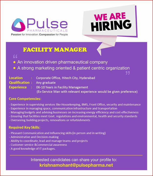 Pulse Pharmaceuticals - Urgent Openings for Freshers & Experienced in Production, R&D, FR&D, Nano R&D, AR&D Departments