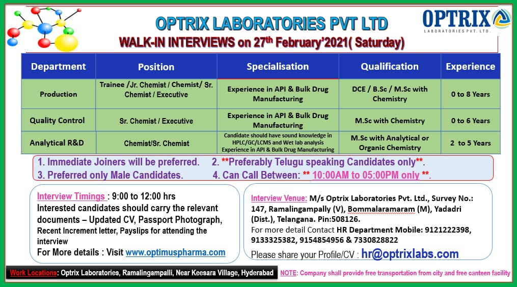 Optrix Laboratories Pvt. Ltd - Walk-In Interviews for Freshers & Experienced in Quality Control / AR&D / Production on 27th Feb' 2021