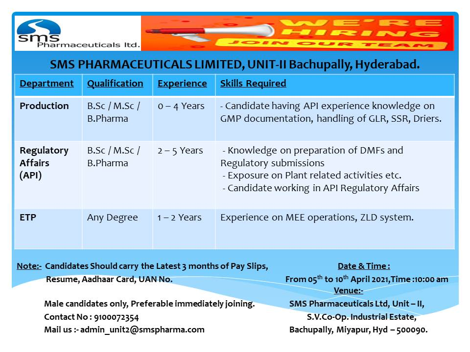 SMS Pharmaceuticals – Walk-In Interviews for Freshers & Experienced in Production / Regulatory Affairs / ETP on 5th to 10th Apr' 2021