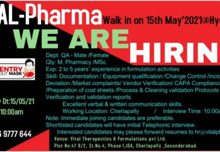 Vital Pharma – Walk-In Interviews for Quality Assurance on 15th May' 2021