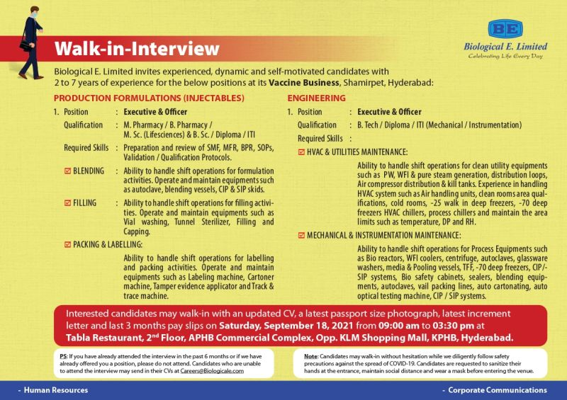 biological e limited walk-in interview