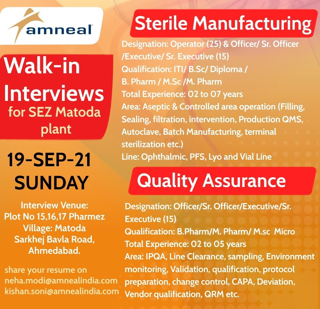 *Amneal – Openings for Injectable Manufacturing & Quality Assurance*