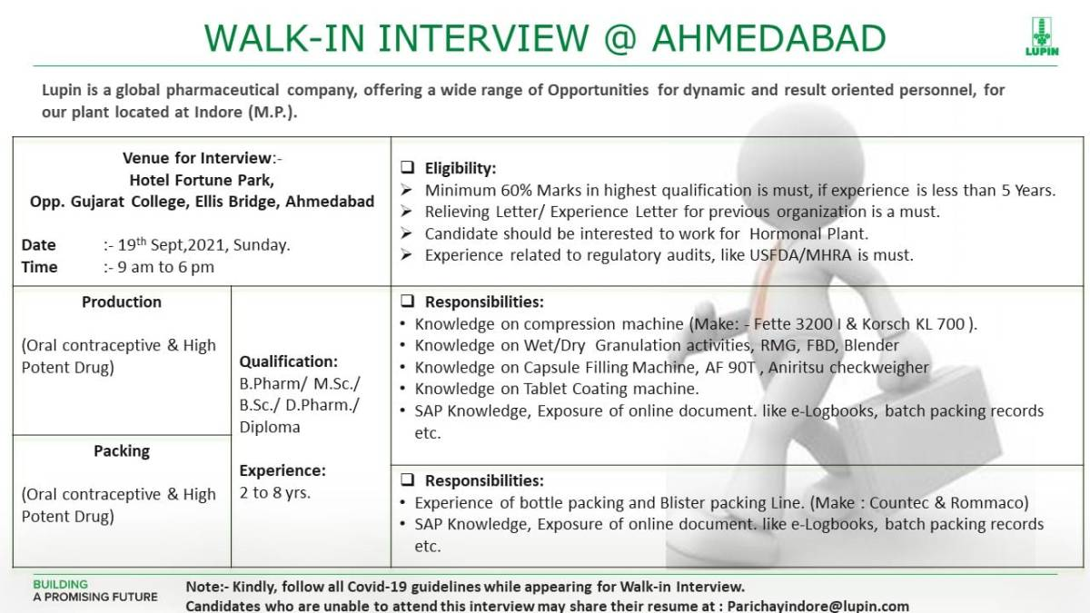 Lupin Limited – Walk-In Interviews
